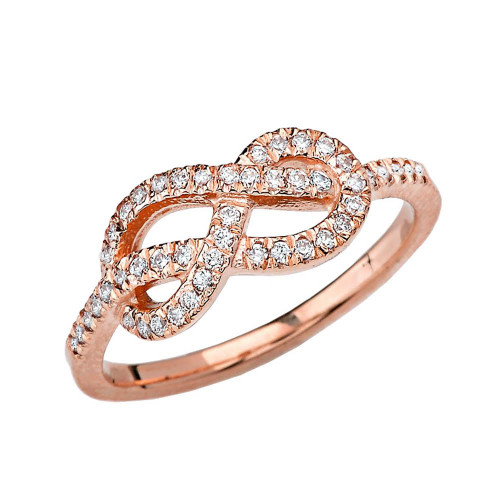 Rose Gold Eight Knot Diamond Infinity Ring