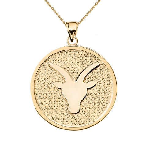 Yellow Gold Capricorn Zodiac Disc Pendant Necklace