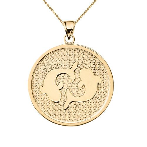 Yellow Gold Pisces Zodiac Disc Pendant Necklace