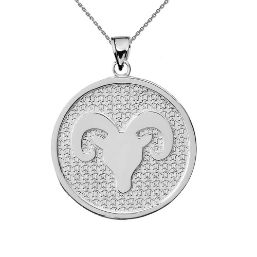 Sterling Silver Aries Zodiac Disc Pendant Necklace