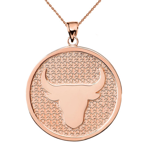 Rose Gold Taurus Zodiac Disc Pendant Necklace