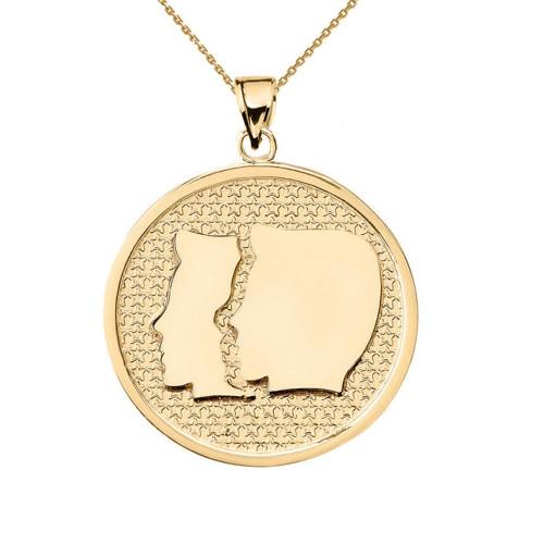 Yellow Gold Gemini Zodiac Disc Pendant Necklace
