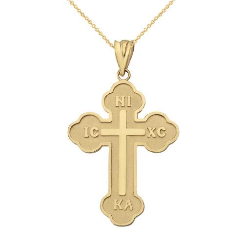 Solid Yellow Gold Saint Nicholas Greek Orthodox IC XC NIKA Cross  Pendant Necklace (Large)