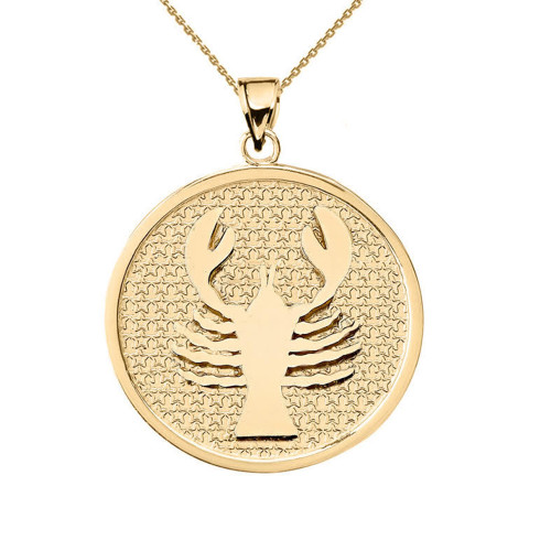 Yellow Gold Cancer Zodiac Disc Pendant Necklace