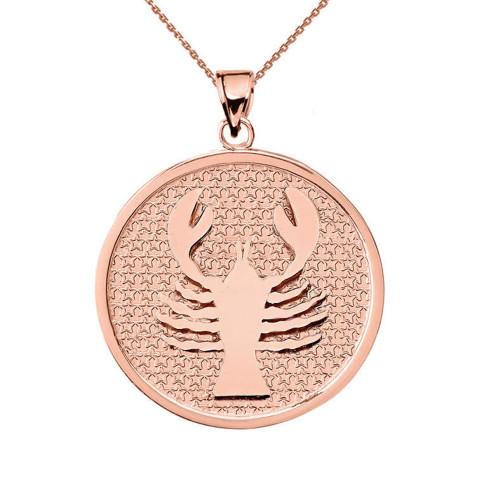 Rose Gold Cancer Zodiac Disc Pendant Necklace
