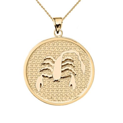 Yellow Gold Scorpio Zodiac Disc Pendant Necklace