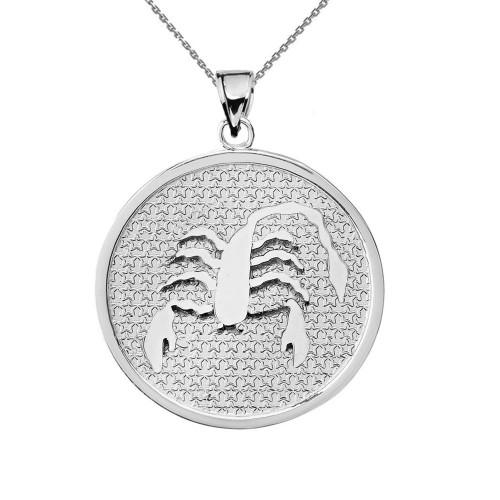 Sterling Silver Scorpio Zodiac Disc Pendant Necklace