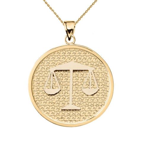 Yellow Gold Libra Zodiac Disc Pendant Necklace