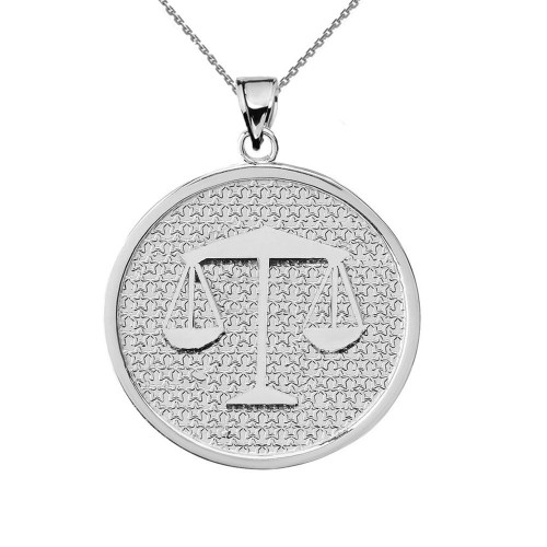 White Gold Libra Zodiac Disc Pendant Necklace