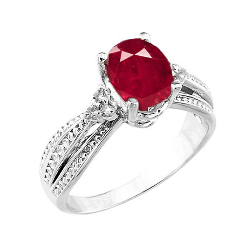 White Gold Genuine Ruby and Diamond Engagement Proposal Ring
