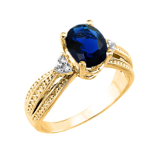 Yellow Gold Genuine Sapphire and Diamond Engagement Proposal Ring
