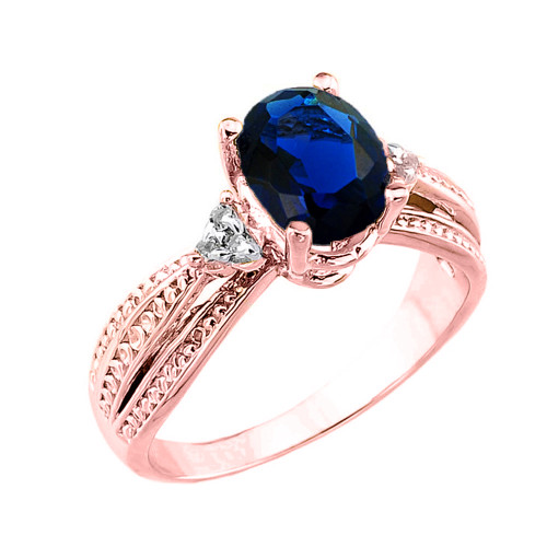 Rose Gold Genuine Sapphire and Diamond Engagement Proposal Ring