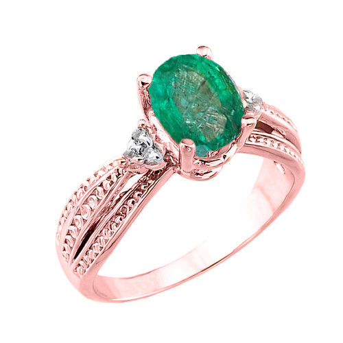 Rose Gold Genuine Emerald and Diamond Engagement Proposal Ring