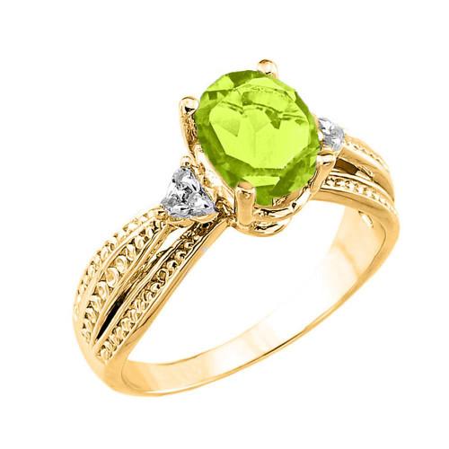 Yellow Gold Genuine Peridot and Diamond Engagement Proposal Ring