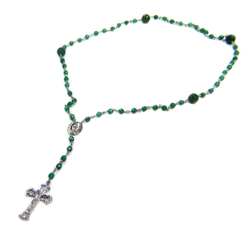 Sterling Silver Green Onyx Rosary Beaded Necklace 20 Inch