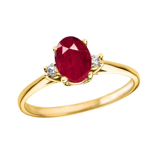 Yellow Gold Oval Genuine Ruby and Diamond Engagement Proposal Ring