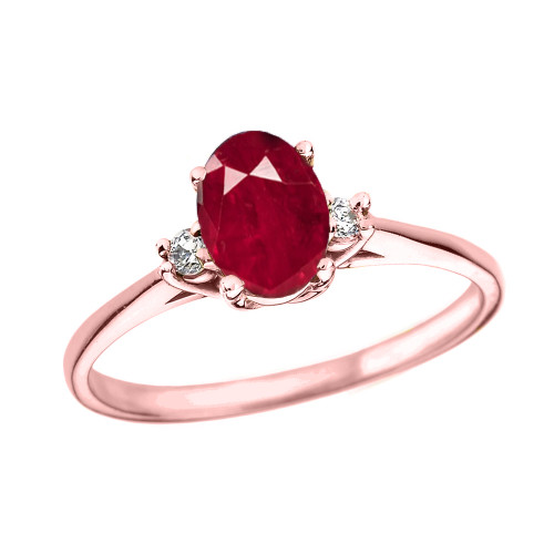 Rose Gold Oval Genuine Ruby and Diamond Engagement Proposal Ring
