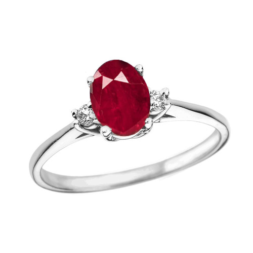 White Gold Oval Genuine Ruby and Diamond Engagement Proposal Ring