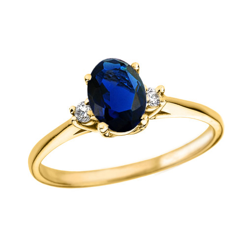 Yellow Gold Oval Genuine Sapphire and Diamond Engagement Proposal Ring