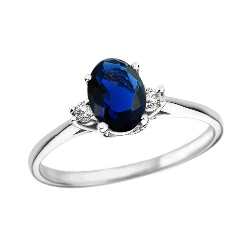 White Gold Oval Genuine Sapphire and Diamond Engagement Proposal Ring