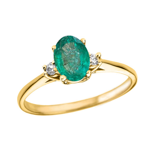 Yellow Gold Oval Genuine Emerald and Diamond Engagement Proposal Ring