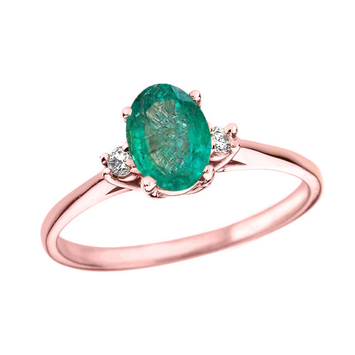 Rose Gold Oval Genuine Emerald and Diamond Engagement Proposal Ring