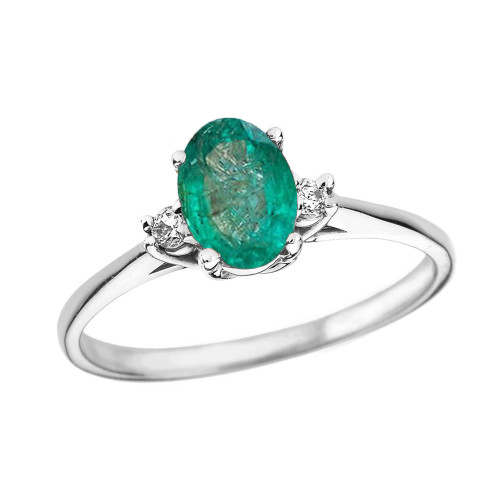 White Gold Oval Genuine Emerald and Diamond Engagement Proposal Ring