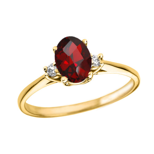 Yellow Gold Oval Genuine Garnet and Diamond Engagement Proposal Ring