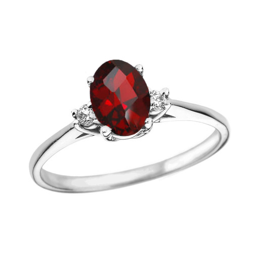 White Gold Oval Genuine Garnet and Diamond Engagement Proposal Ring