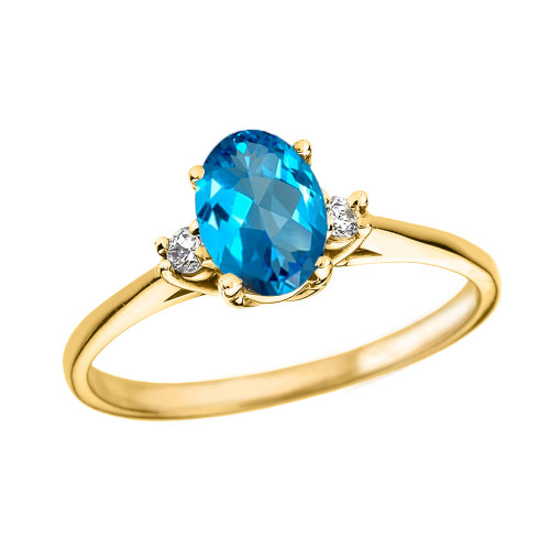 Yellow Gold Oval Genuine Blue Topaz and Diamond Engagement Proposal Ring
