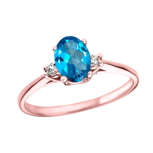 Rose Gold Oval Genuine Blue Topaz and Diamond Engagement Proposal Ring
