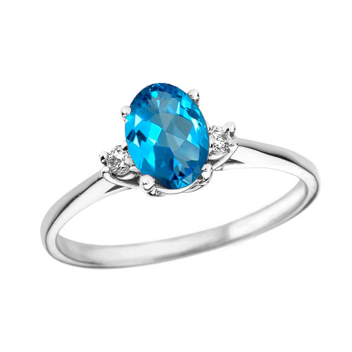 White Gold Oval Genuine Blue Topaz and Diamond Engagement Proposal Ring