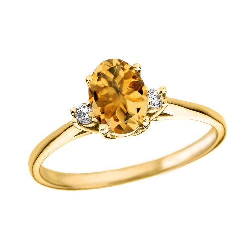 Yellow Gold Oval Genuine Citrine and Diamond Engagement Proposal Ring