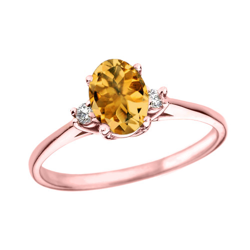 Rose Gold Oval Genuine Citrine and Diamond Engagement Proposal Ring