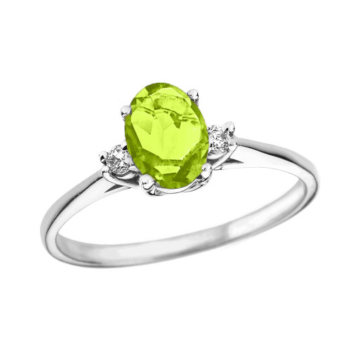 White Gold Oval Genuine Peridot and Diamond Engagement Proposal Ring