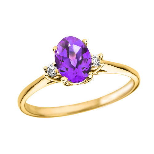 Yellow Gold Oval Genuine Amethyst and Diamond Engagement Proposal Ring