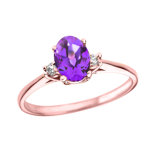 Rose Gold Oval Genuine Amethyst and Diamond Engagement Proposal Ring