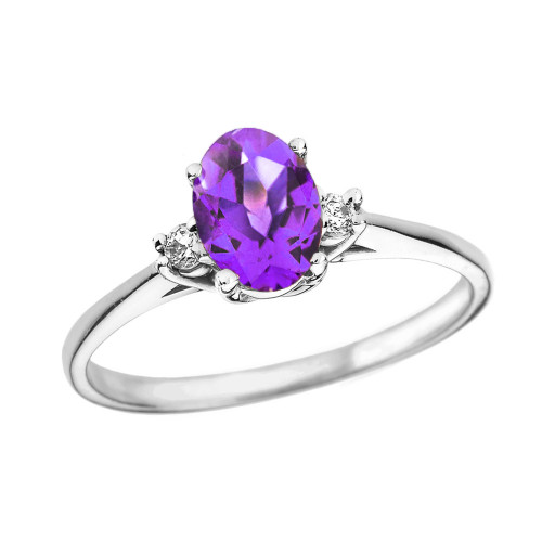 White Gold Oval Genuine Amethyst and Diamond Engagement Proposal Ring