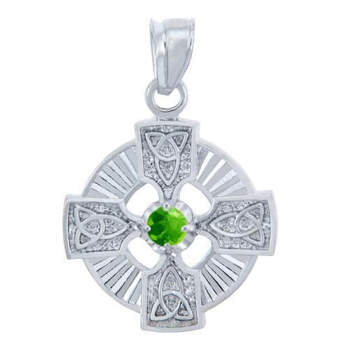 Silver Celtic Trinity Pendant with Peridot CZ Stone