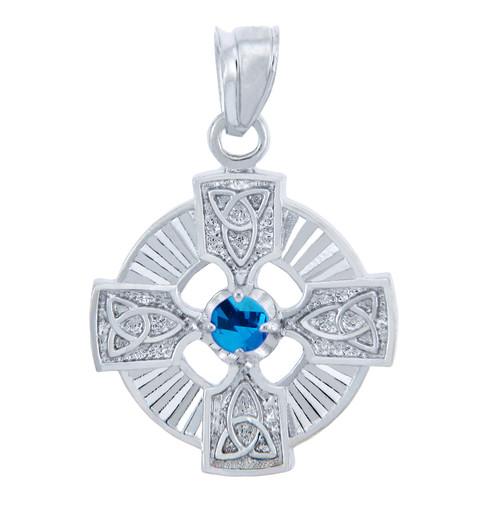 Silver Celtic Trinity Pendant with Blue CZ Stone