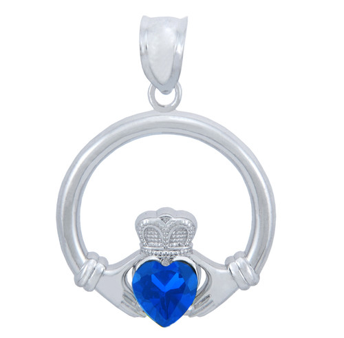 Silver Claddagh Pendant with Sapphire CZ Heart (1 Inch)