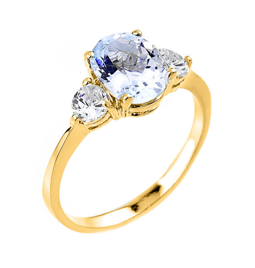 Yellow Gold Genuine Aquamarine Gemstone Engagement Ring