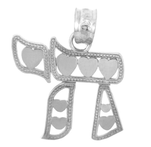Jewish Charms and Pendants - Sterling Silver Chai With Hearts