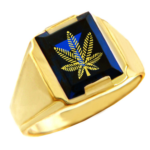 Solid Yellow Gold Blue CZ Stone Marijuana Signet Men's Ring