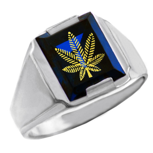 Solid White Gold Blue CZ Stone Marijuana Signet Men's Ring