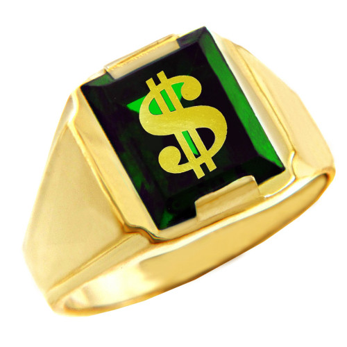 Solid Yellow Gold Green CZ Stone Dollar Sign Signet Men's Ring