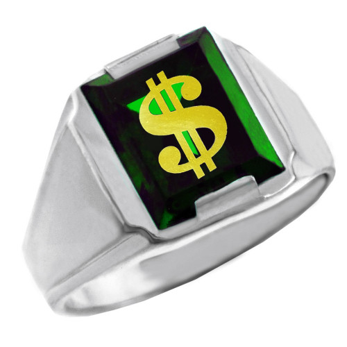 Solid White Gold Green CZ Stone Dollar Sign Signet Men's Ring