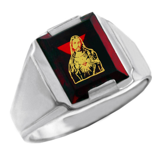 Solid White Gold Red CZ Stone Sacred Heart Jesus Signet Men's Ring