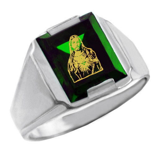 Sterling Silver Green CZ Stone Sacred Heart Jesus Signet Men's Ring