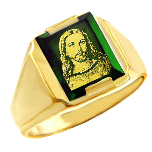 Solid Yellow Gold Green CZ Stone Jesus Christ Signet Men's Ring